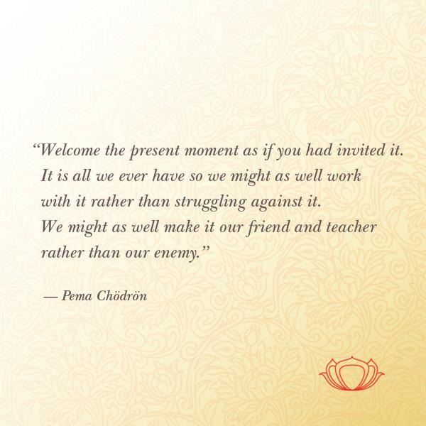 Welcome to the present moment...Pema Chodron