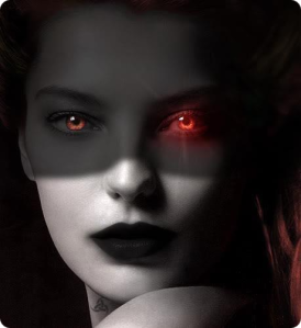 Woman with red eyes